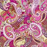 Square Paisley Footstool - Available in Pink or Yellow